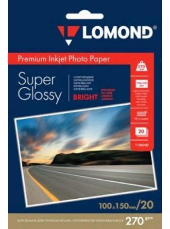LOMOND Фотобумага суперглянцевая ярко-белая А6 (100 x 150) 270 г/м  20л. односторонняя