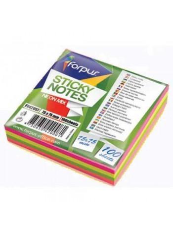 FORPUS Стикеры 75х75мм, 100л, 4 цвета, неон