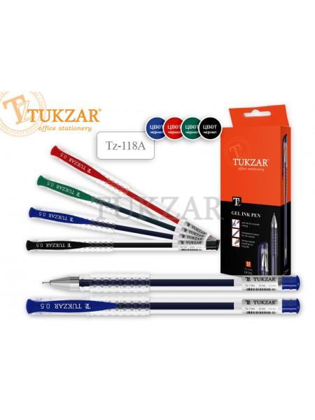 TUKZAR Ручка гелевая TZ-118A в прозрачном корпусе, игольчатый пишущий узел 0.5 мм