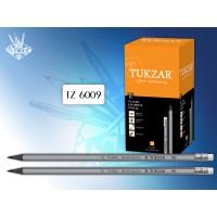 TUKZAR Карандаш чернографитный SILVER-BLACK, HB, с ластиком, заточенный