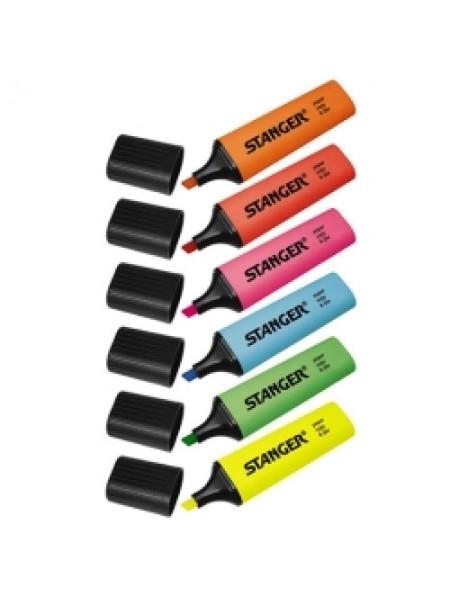 STANGER Маркеры-текстовыделители, набор 6шт. (желтый, оранжевый, красный, розовый, синий, зеленый)