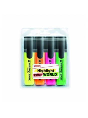 EDDING Набор текстовых маркеров E-345/4S, 4 цвета, 1-5 мм