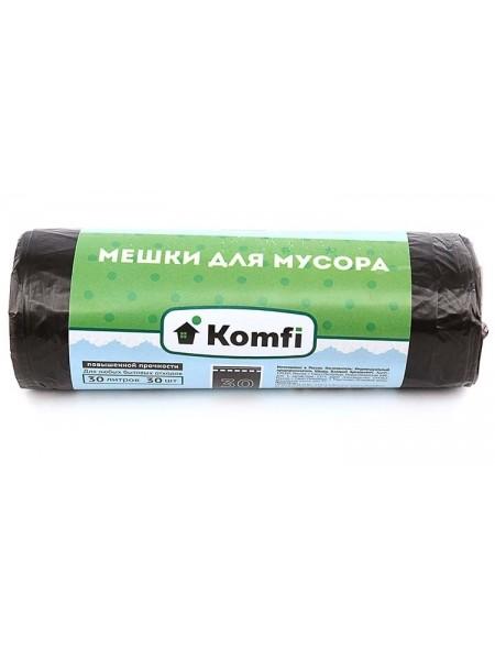 Komfi Пакеты для мусора  30л, повышенной прочности, 30 шт/рул, черные