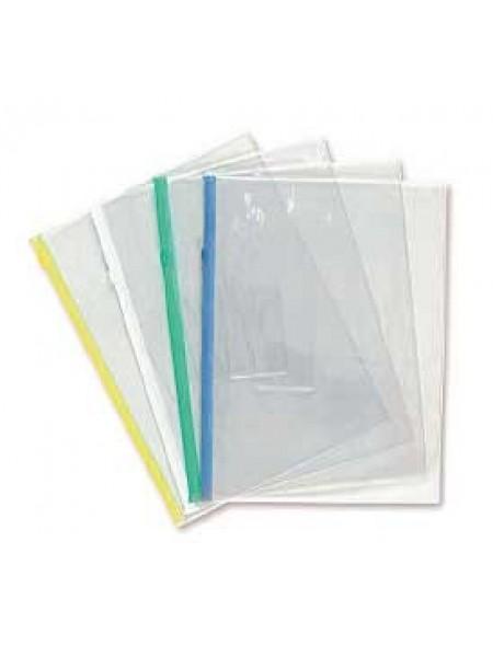 БЮРОКРАТ Папка на молнии ZIP, B4, карман под визитку, толщина пластика 0,18 мм, ассорти
