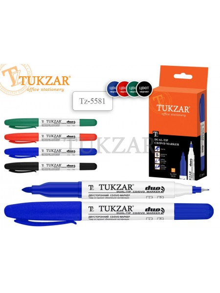TUKZAR Маркер перманентный 2-х сторонний DUO для CD/DVD