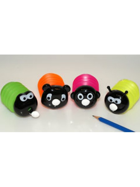 KUM Точилка для карандашей c контейнером, 1-отв., пластик, SQ K1 Happy Animals