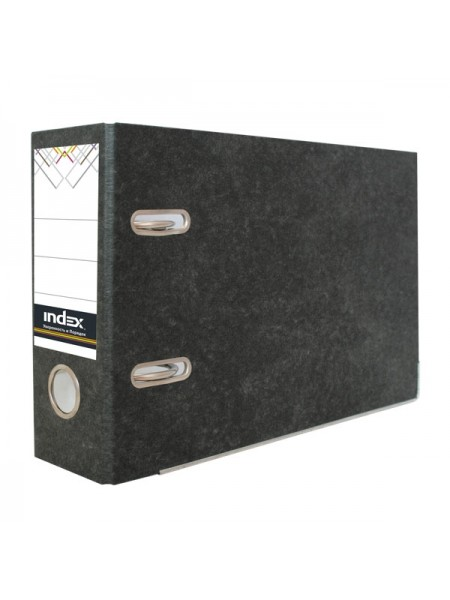INDEX Папка-регистратор A5, 80 мм, горизонтальный, для платежек, черный мрамор
