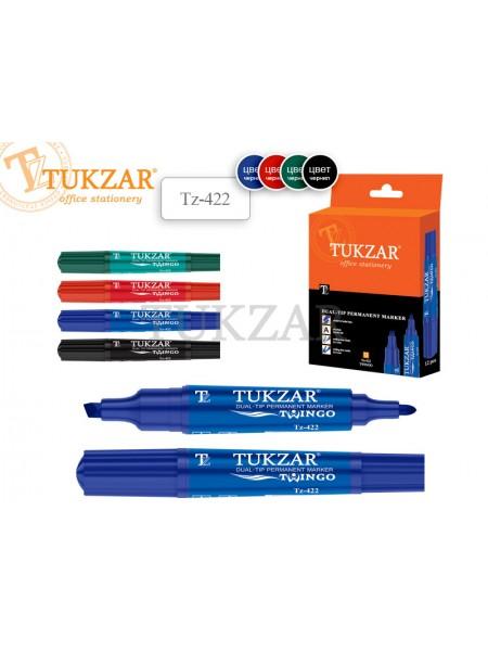 TUKZAR Маркер перманентный 2-х сторонний TWINGO, пулевидный/скошенный наконечник, 2-6 мм