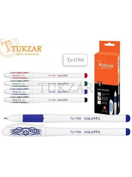 TUKZAR Ручка гелевая TZ-119A в белом пластиковом корпусе, резиновый держатель