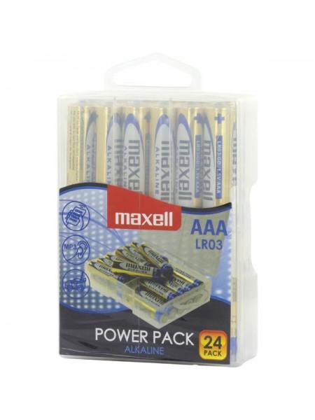 MAXELL Батарея AAA Alkaline LR03 POWER PACK (в блоке 24шт.), в пластиковом боксе с крючком