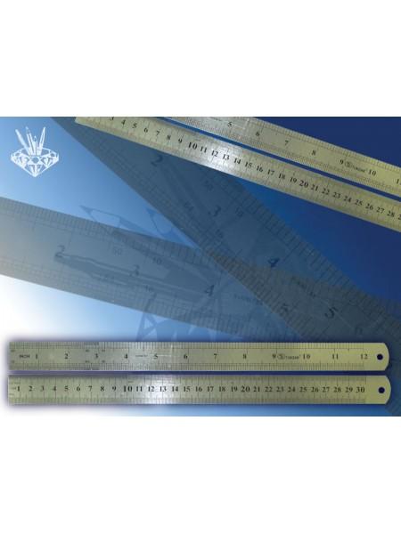 TUKZAR Линейка металлическая 30 см, двусторонняя, с двойной шкалой