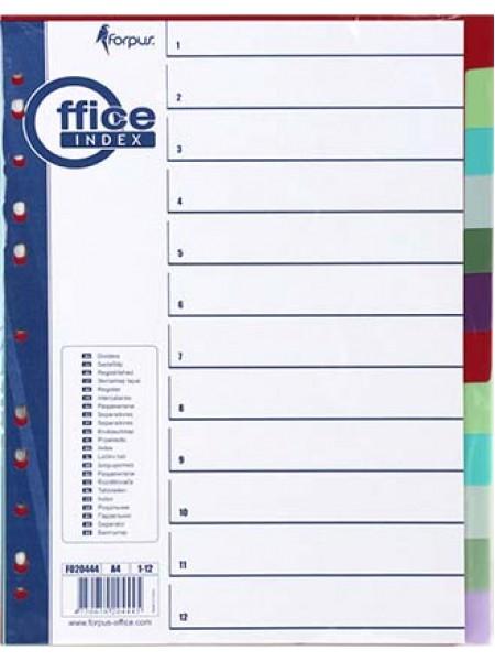 FORPUS Разделители пластиковые, цветные, ф.А4, 1-12