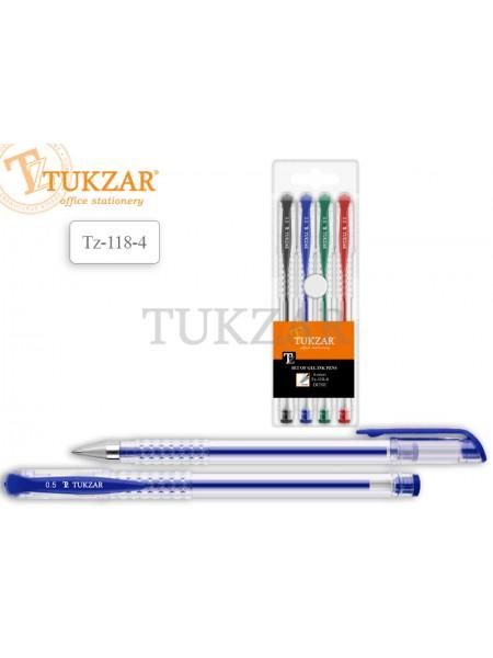TUKZAR Набор ручек гелевых DUNE, прозрачный корпус, 0.8 мм, 4 цвета, сменный стержень 130 мм