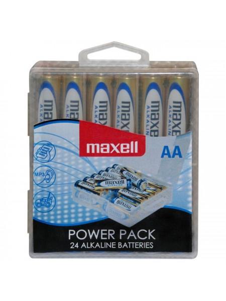 MAXELL Батарея AA Alkaline LR06 POWER PACK (в блоке 24шт.), в пластиковом боксе с крючком