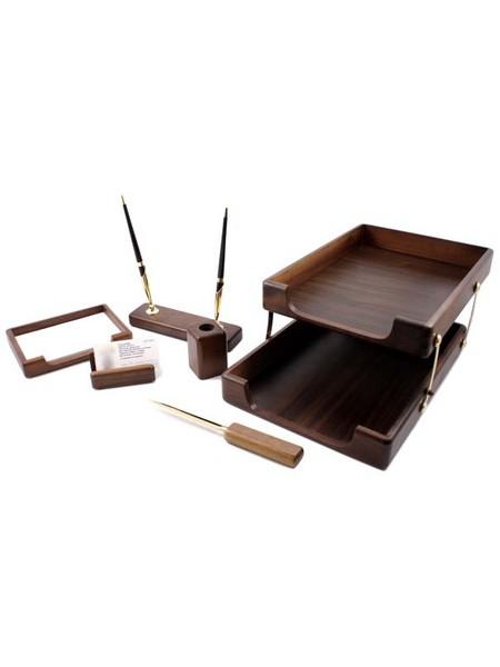 FORPUS Набор настольный, деревянный,  6 предметов (мореный дуб)