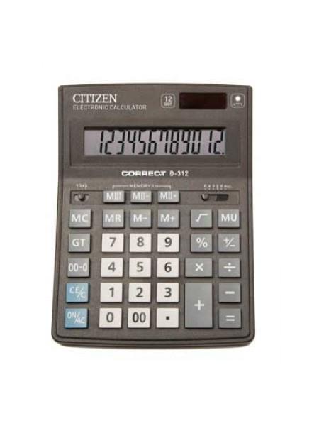 CITIZEN Калькулятор настольный  12-разрядный Correct D-312