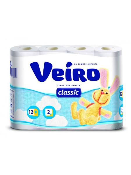 Туалетная бумага 2-х слойная Veiro Classic, (12 шт в упак)