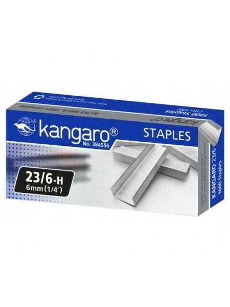 KANGARO Скобы для степлера №23/6, 1000шт/уп.