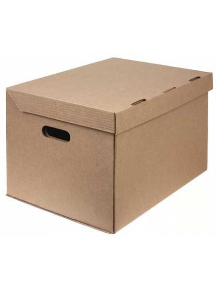 Архивный короб из трехслойного гофрированного картона (450х340х295), бурый