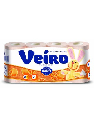 Туалетная бумага 2-х слойная Veiro Classic ( 8 шт в упак)