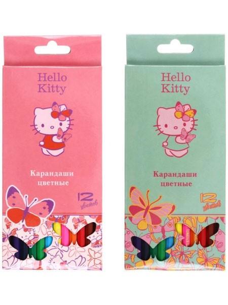 Action Карандаши цветные Hello Kitty, 12 цветов, длина 175 мм, ассорти
