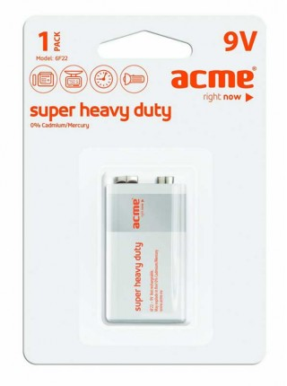 "Acme Батарея ""Крона"" Super Heavy Duty 6F22"