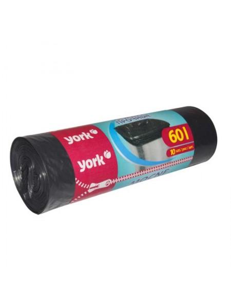 York Мешки для мусора  60л. 10шт/рулон, прочные