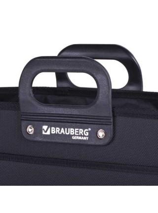 BRAUBERG Портфель пластиковый, премьер, А4, 390х315х120 мм, 3 отделения, на молнии, черный