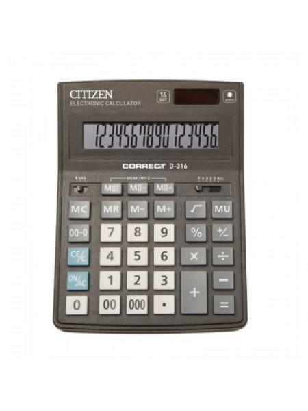 CITIZEN Калькулятор настольный  16-разрядный Correct D-316