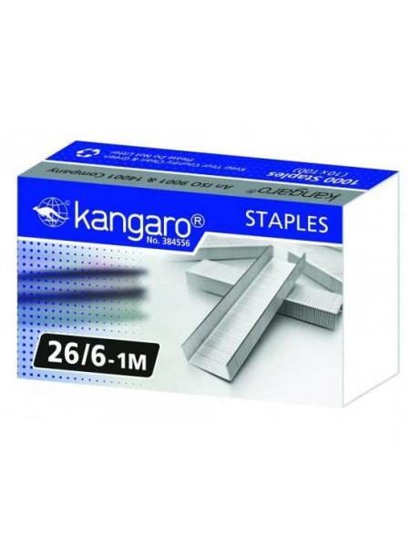 KANGARO Скобы для степлера №26/6, 1000шт/уп.
