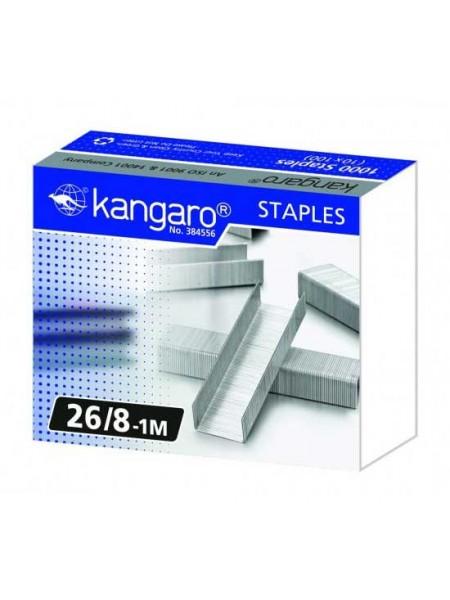 KANGARO Скобы для степлера №26/8, 1000шт/уп.