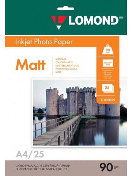 LOMOND Фотобумага матовая А4 (210 х 297)  90 г/м  25л. односторонняя
