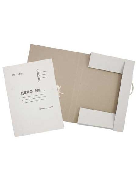 Папка картонная на завязках, ширина корешка 35мм (2 завязки), КТ 0.6, белая