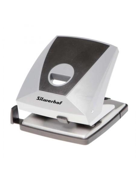 SILWERHOF Дырокол большой DIAMOND (30 листов) пластик, с линейкой, серый/черный