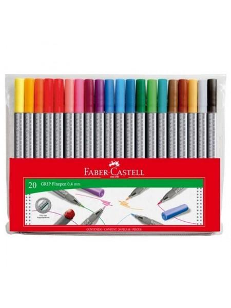 "Faber-Castell Ручка капиллярная ""Grip"" - 0.4 мм, набор цветов, 20 штук"