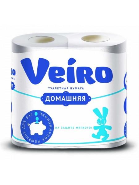 Туалетная бумага 2-х слойная Veiro Домашняя, (4 шт в упак)