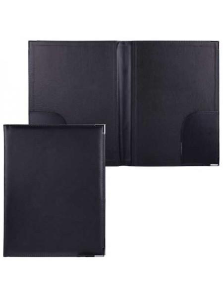 АЛЕКС Папка адресная с двумя карманами, кожзам, черная, размер 330х250 мм