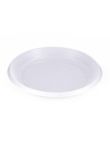 Тарелка пластиковая одноразовая, d 165мм, эконом, белая, 100 шт/уп